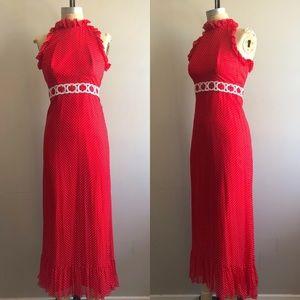 Vintage 1970's Nadine Red Polka Dot Halter Dress